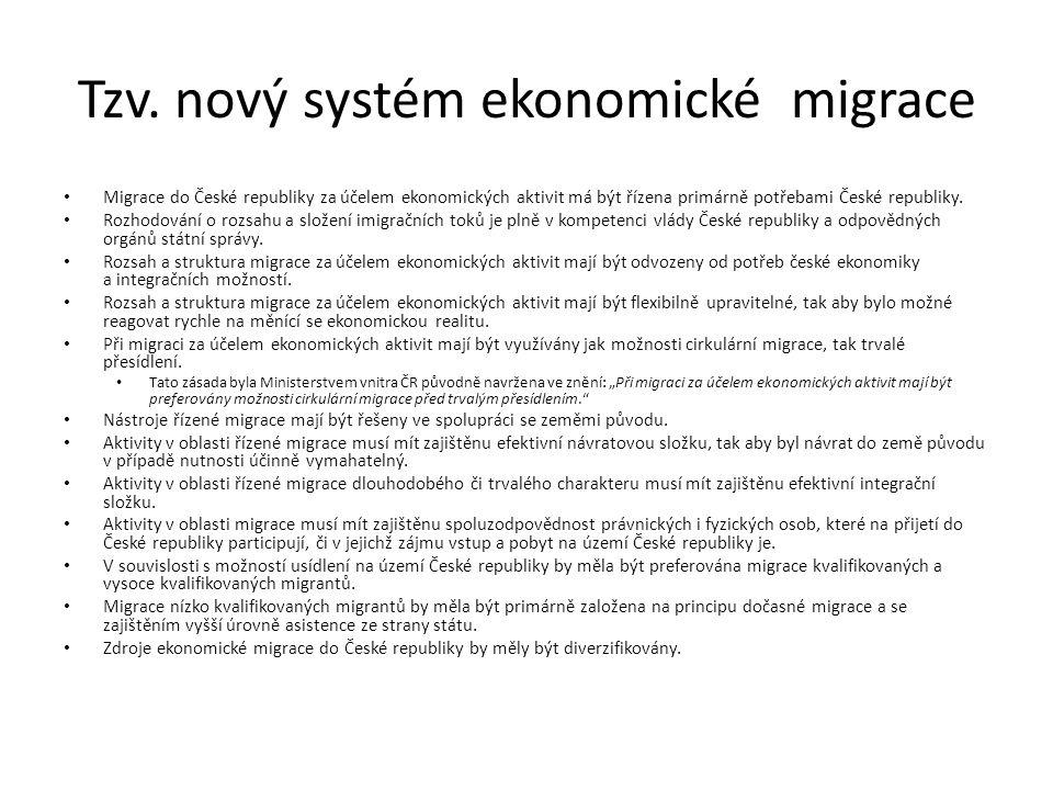 Tzv. nový systém ekonomické migrace Migrace do České republiky za účelem ekonomických aktivit má být řízena primárně potřebami České republiky. Rozhod
