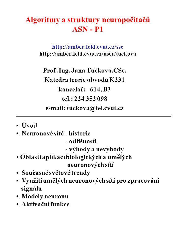Algoritmy a struktury neuropočítačů ASN - P1 http://amber.feld.cvut.cz/ssc http://amber.feld.cvut.cz/user/tuckova Prof.Ing. Jana Tučková,CSc. Katedra