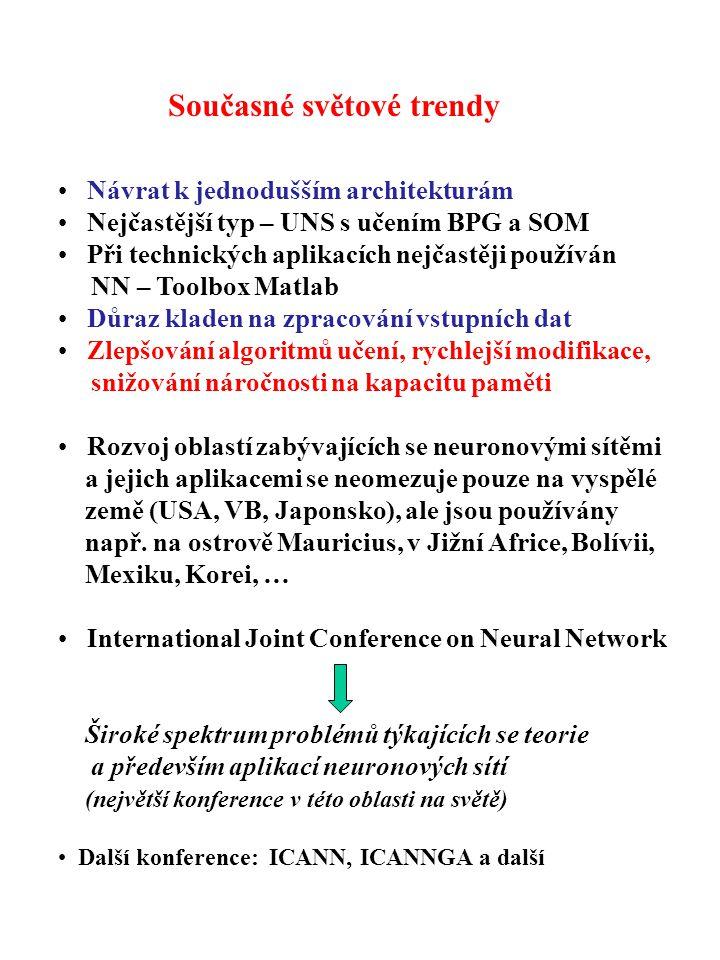 Současné světové trendy Návrat k jednodušším architekturám Nejčastější typ – UNS s učením BPG a SOM Při technických aplikacích nejčastěji používán NN