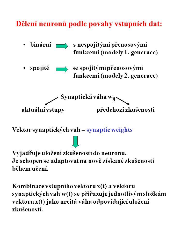 Dělení neuronů podle povahy vstupních dat: binární s nespojitými přenosovými funkcemi (modely 1. generace) spojité se spojitými přenosovými funkcemi (