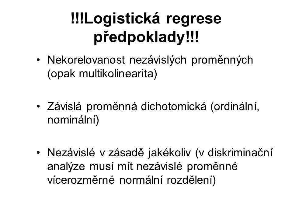 !!!Logistická regrese předpoklady!!! Nekorelovanost nezávislých proměnných (opak multikolinearita) Závislá proměnná dichotomická (ordinální, nominální