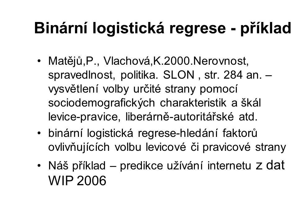 Binární logistická regrese - příklad Matějů,P., Vlachová,K.2000.Nerovnost, spravedlnost, politika. SLON, str. 284 an. – vysvětlení volby určité strany