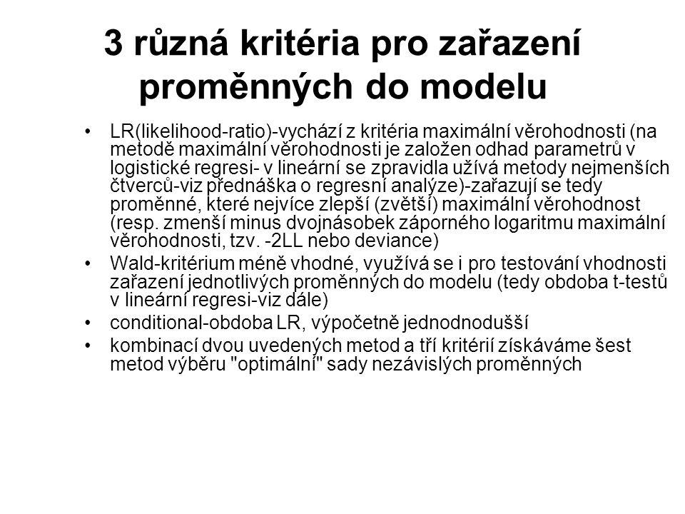 3 různá kritéria pro zařazení proměnných do modelu LR(likelihood-ratio)-vychází z kritéria maximální věrohodnosti (na metodě maximální věrohodnosti je