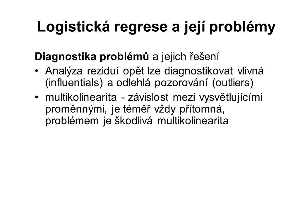 Logistická regrese a její problémy Diagnostika problémů a jejich řešení Analýza reziduí opět lze diagnostikovat vlivná (influentials) a odlehlá pozoro