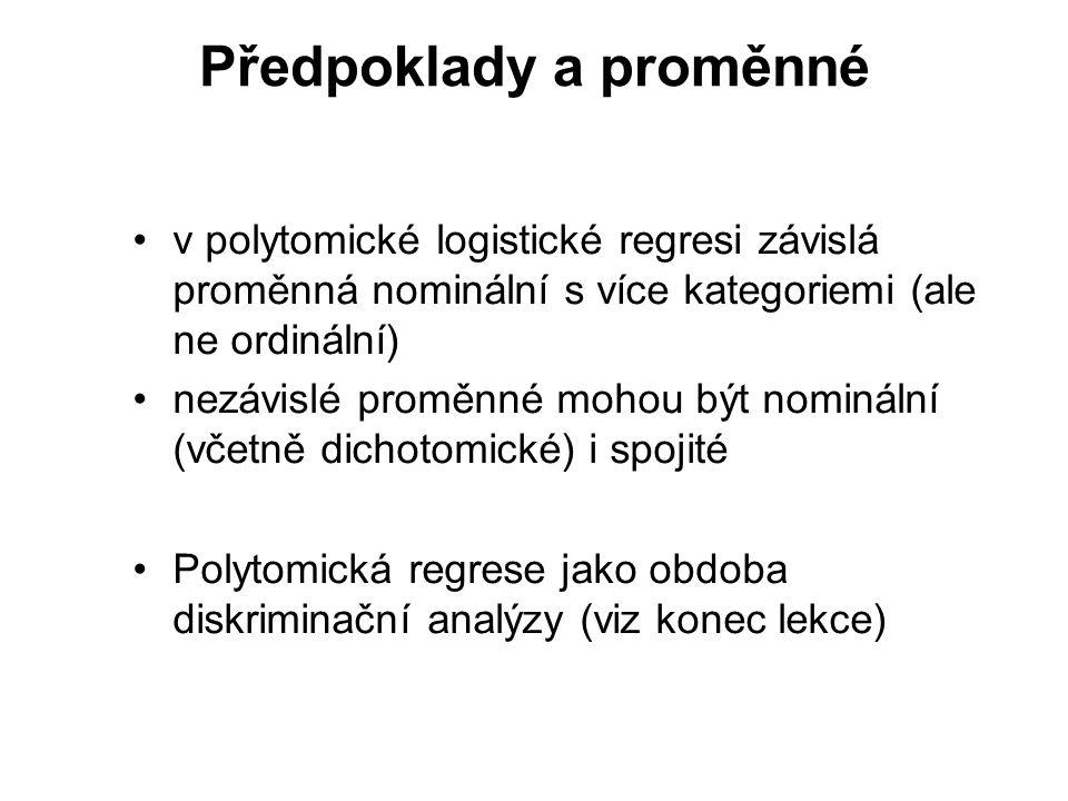 Předpoklady a proměnné v polytomické logistické regresi závislá proměnná nominální s více kategoriemi (ale ne ordinální) nezávislé proměnné mohou být