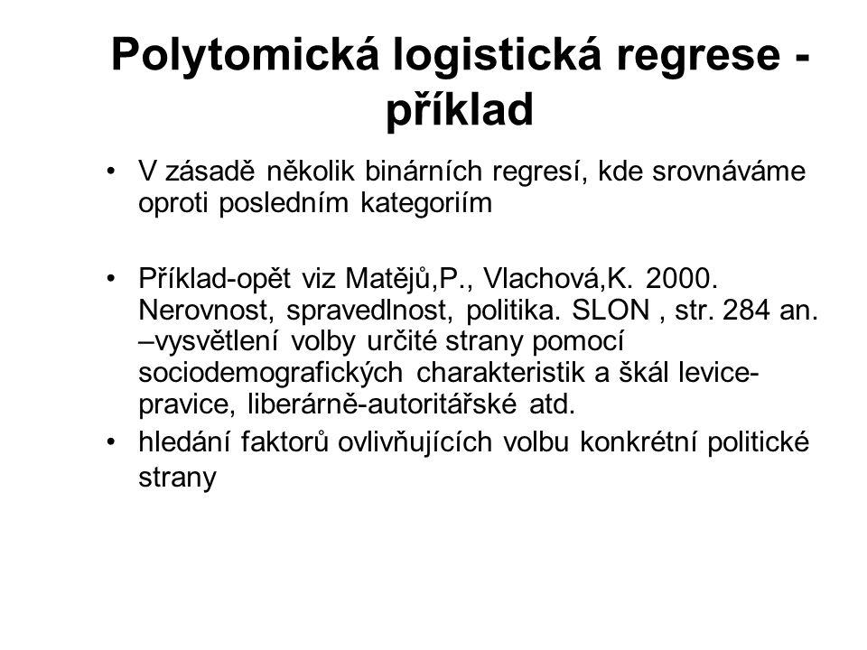 Polytomická logistická regrese - příklad V zásadě několik binárních regresí, kde srovnáváme oproti posledním kategoriím Příklad-opět viz Matějů,P., Vl