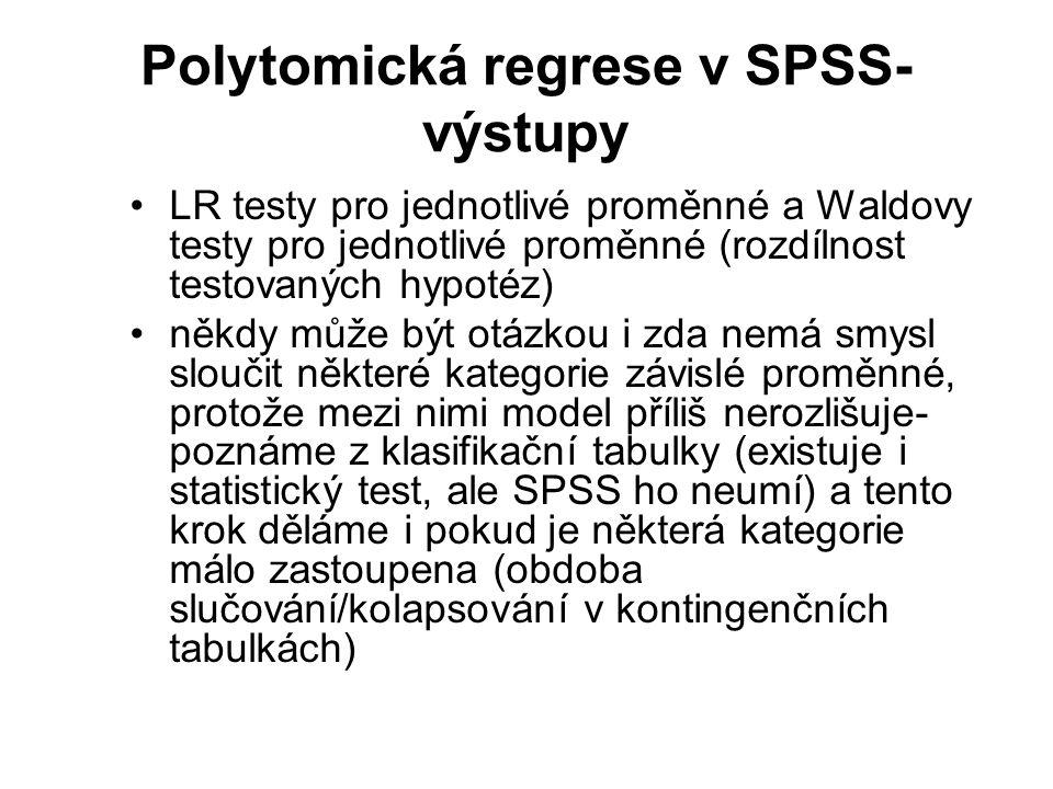 Polytomická regrese v SPSS- výstupy LR testy pro jednotlivé proměnné a Waldovy testy pro jednotlivé proměnné (rozdílnost testovaných hypotéz) někdy mů