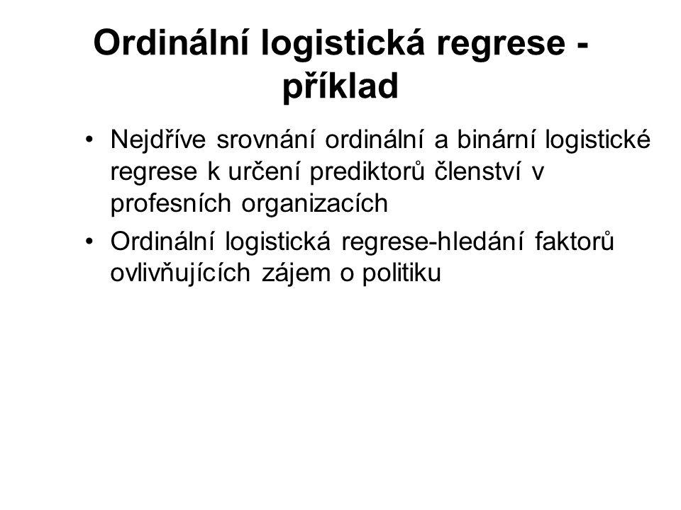 Ordinální logistická regrese - příklad Nejdříve srovnání ordinální a binární logistické regrese k určení prediktorů členství v profesních organizacích