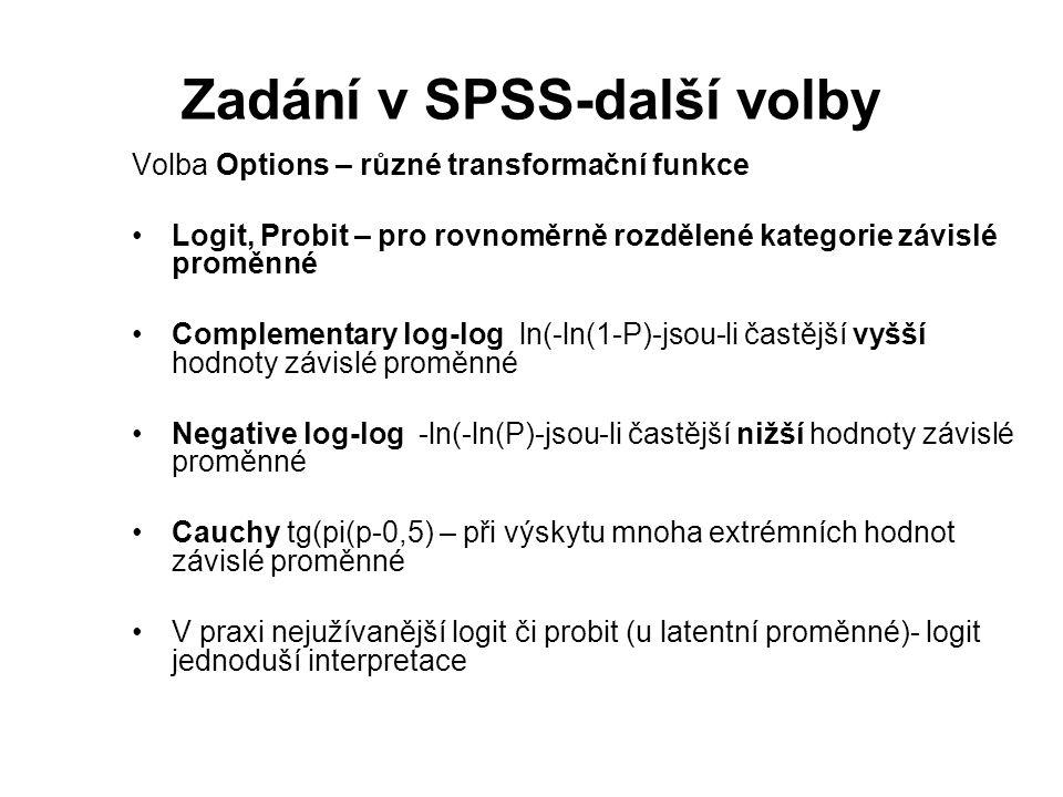 Zadání v SPSS-další volby Volba Options – různé transformační funkce Logit, Probit – pro rovnoměrně rozdělené kategorie závislé proměnné Complementary