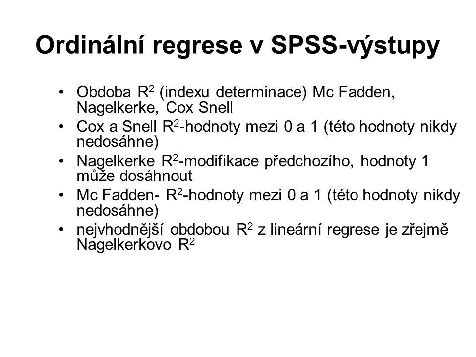 Ordinální regrese v SPSS-výstupy Obdoba R 2 (indexu determinace) Mc Fadden, Nagelkerke, Cox Snell Cox a Snell R 2 -hodnoty mezi 0 a 1 (této hodnoty ni