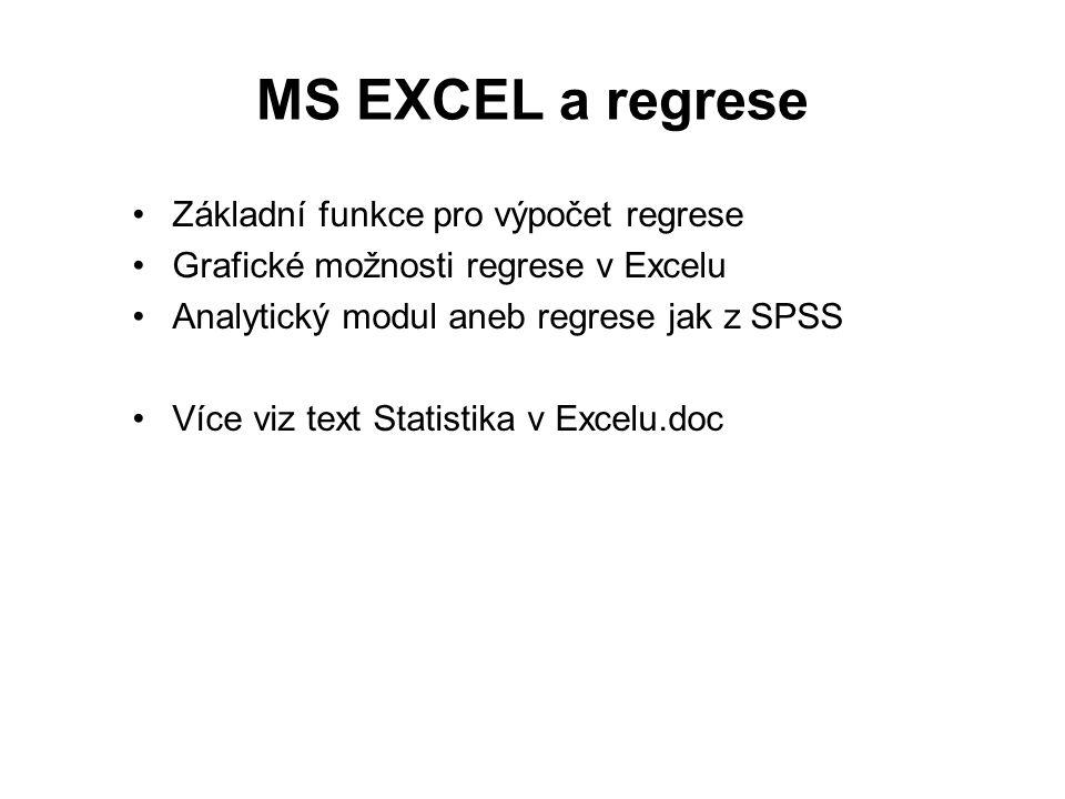 MS EXCEL a regrese Základní funkce pro výpočet regrese Grafické možnosti regrese v Excelu Analytický modul aneb regrese jak z SPSS Více viz text Statistika v Excelu.doc