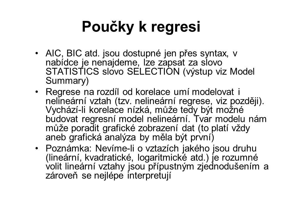 Poučky k regresi AIC, BIC atd.