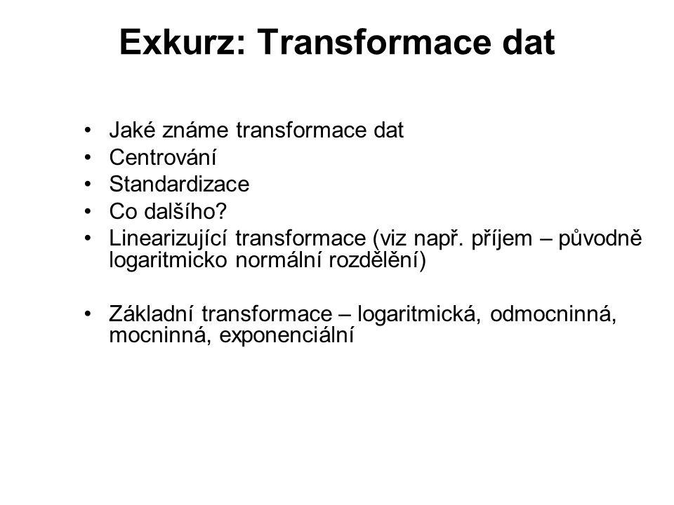 Exkurz: Transformace dat Jaké známe transformace dat Centrování Standardizace Co dalšího.