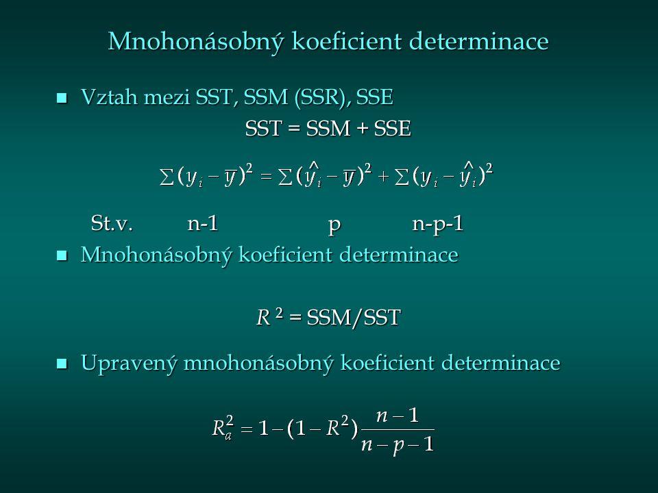 Mnohonásobný koeficient determinace n Vztah mezi SST, SSM (SSR), SSE SST = SSM + SSE St.v.n-1 p n-p-1 St.v.n-1 p n-p-1 n Mnohonásobný koeficient determinace R 2 = SSM/SST n Upravený mnohonásobný koeficient determinace ^^
