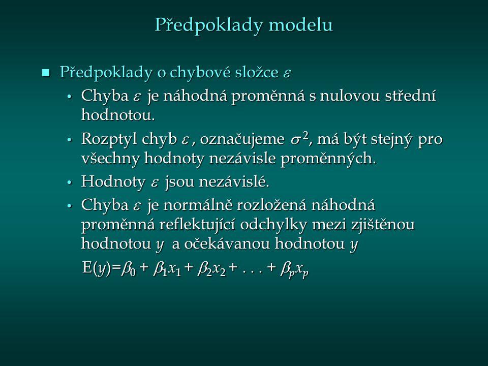 Předpoklady modelu Předpoklady o chybové složce  Předpoklady o chybové složce  Chyba  je náhodná proměnná s nulovou střední hodnotou.