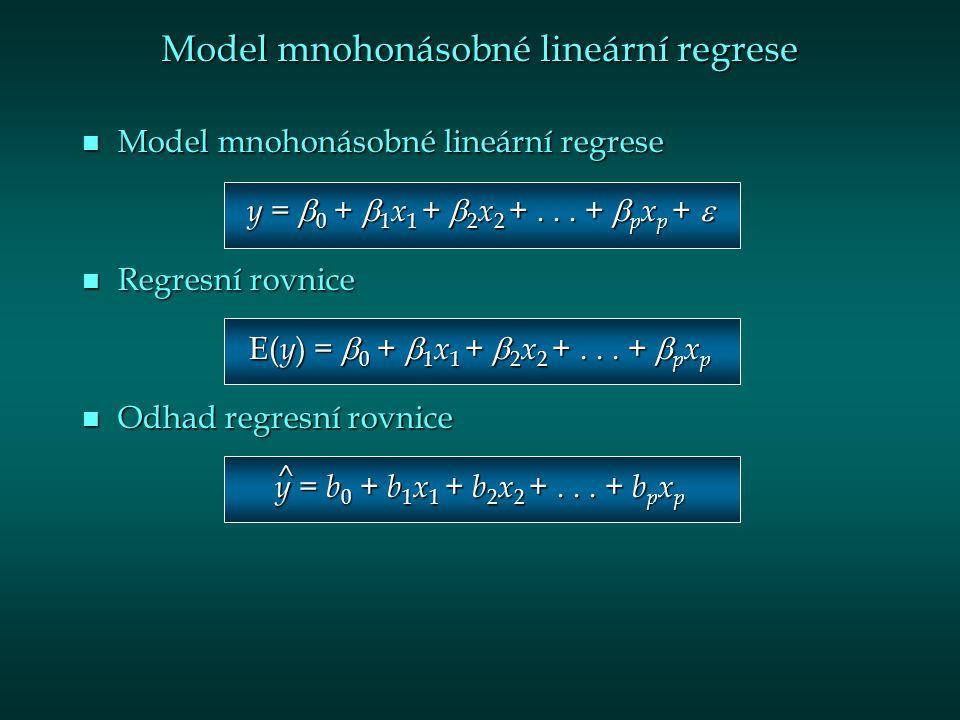 Model mnohonásobné lineární regrese n Model mnohonásobné lineární regrese y =  0 +  1 x 1 +  2 x 2 +...