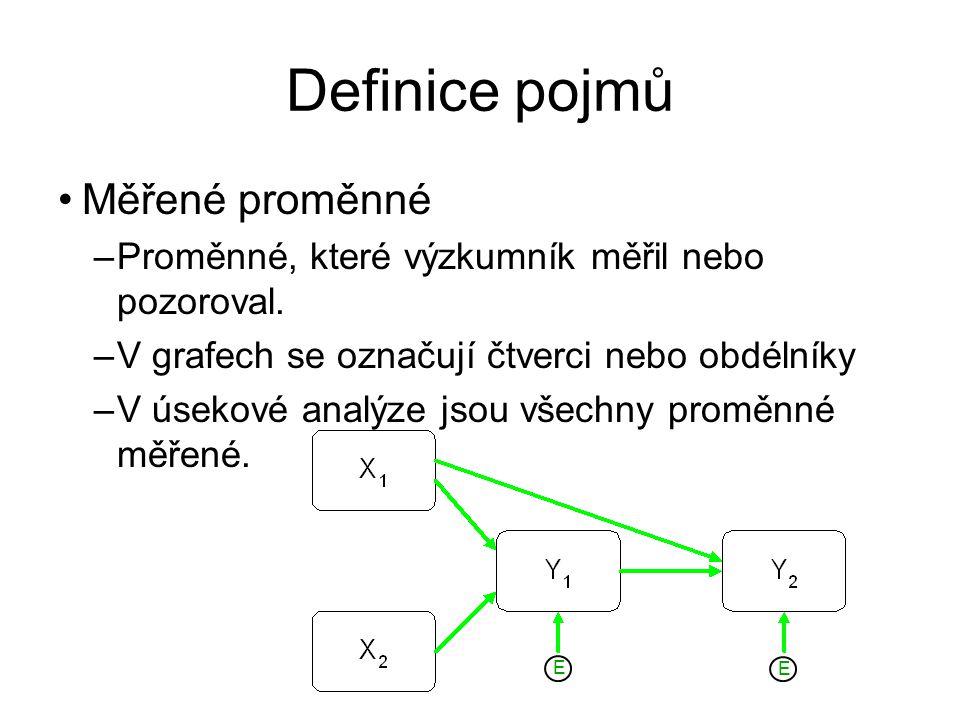 Definice pojmů Měřené proměnné –Proměnné, které výzkumník měřil nebo pozoroval. –V grafech se označují čtverci nebo obdélníky –V úsekové analýze jsou