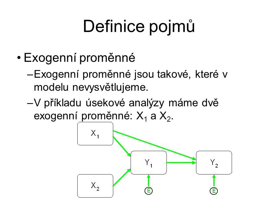Definice pojmů Exogenní proměnné –Exogenní proměnné jsou takové, které v modelu nevysvětlujeme. –V příkladu úsekové analýzy máme dvě exogenní proměnné