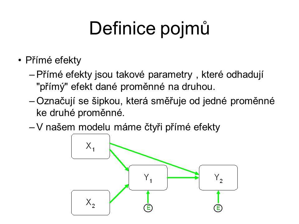 Definice pojmů Přímé efekty –Přímé efekty jsou takové parametry, které odhadují