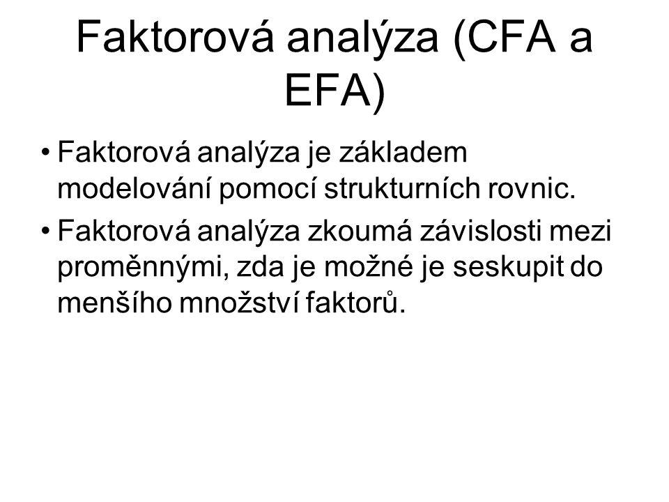 Faktorová analýza (CFA a EFA) Faktorová analýza je základem modelování pomocí strukturních rovnic. Faktorová analýza zkoumá závislosti mezi proměnnými