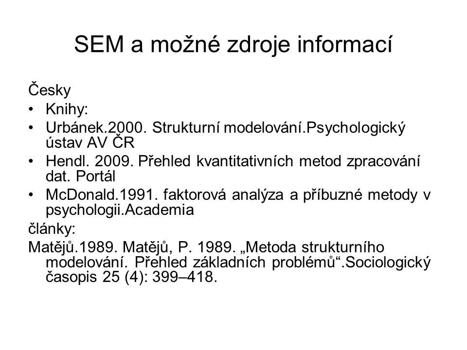 SEM a možné zdroje informací Česky Knihy: Urbánek.2000. Strukturní modelování.Psychologický ústav AV ČR Hendl. 2009. Přehled kvantitativních metod zpr