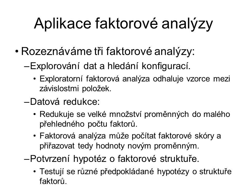 Aplikace faktorové analýzy Rozeznáváme tři faktorové analýzy: –Explorování dat a hledání konfigurací. Exploratorní faktorová analýza odhaluje vzorce m
