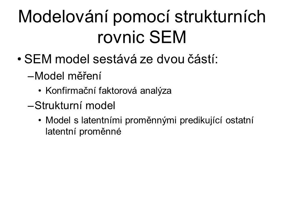 Modelování pomocí strukturních rovnic SEM SEM model sestává ze dvou částí: –Model měření Konfirmační faktorová analýza –Strukturní model Model s laten
