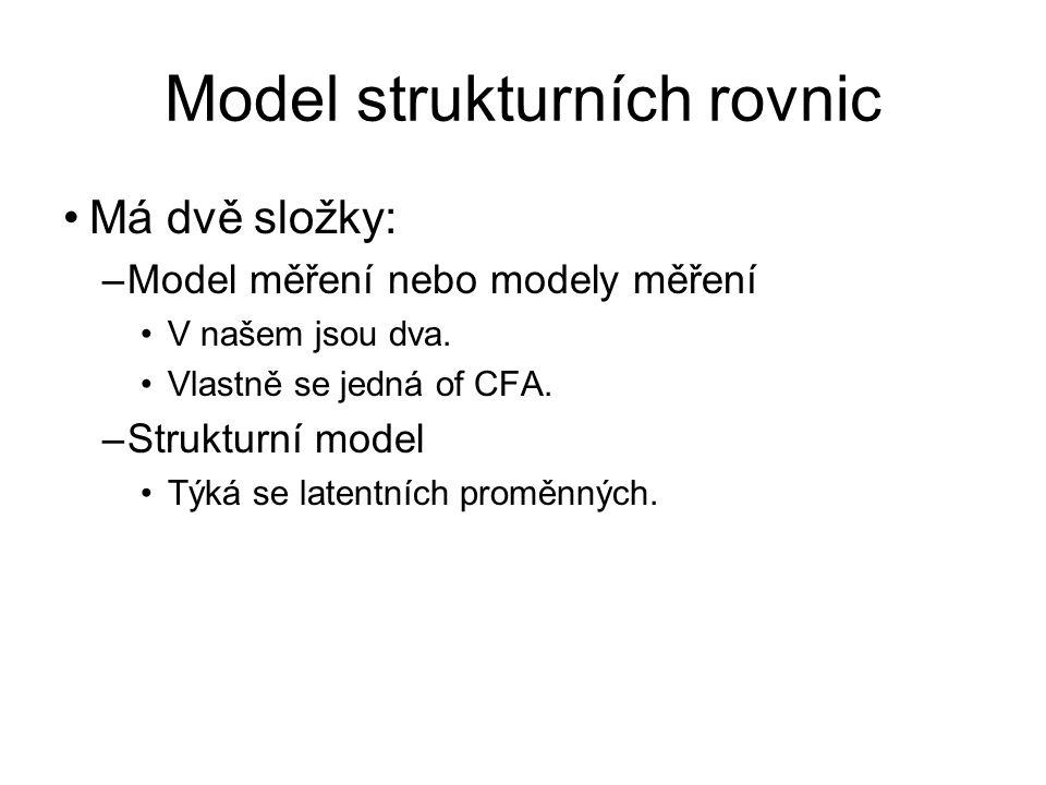 Model strukturních rovnic Má dvě složky: –Model měření nebo modely měření V našem jsou dva. Vlastně se jedná of CFA. –Strukturní model Týká se latentn