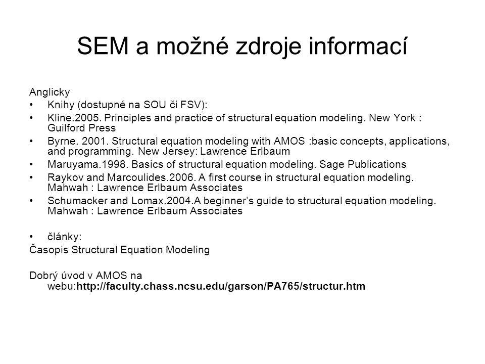 SEM a možné zdroje informací Anglicky Knihy (dostupné na SOU či FSV): Kline.2005. Principles and practice of structural equation modeling. New York :