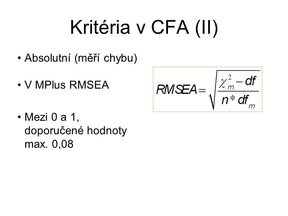 Kritéria v CFA (II) Absolutní (měří chybu) V MPlus RMSEA Mezi 0 a 1, doporučené hodnoty max. 0,08
