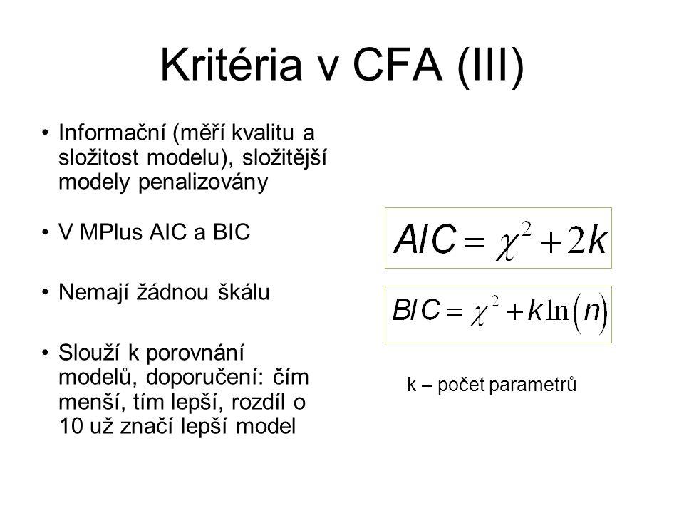 Kritéria v CFA (III) Informační (měří kvalitu a složitost modelu), složitější modely penalizovány V MPlus AIC a BIC Nemají žádnou škálu Slouží k porov