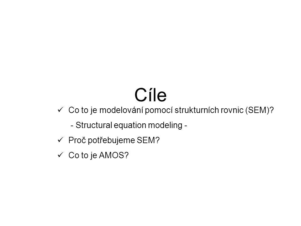 Cíle Co to je modelování pomocí strukturních rovnic (SEM)? - Structural equation modeling - Proč potřebujeme SEM? Co to je AMOS?