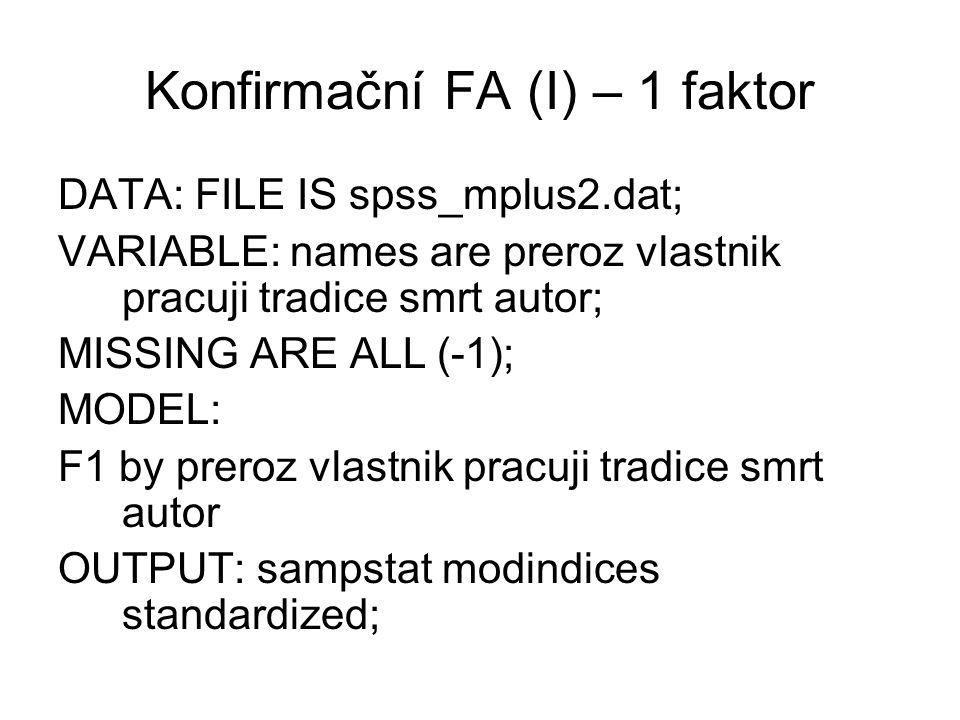 Konfirmační FA (I) – 1 faktor DATA: FILE IS spss_mplus2.dat; VARIABLE: names are preroz vlastnik pracuji tradice smrt autor; MISSING ARE ALL (-1); MOD
