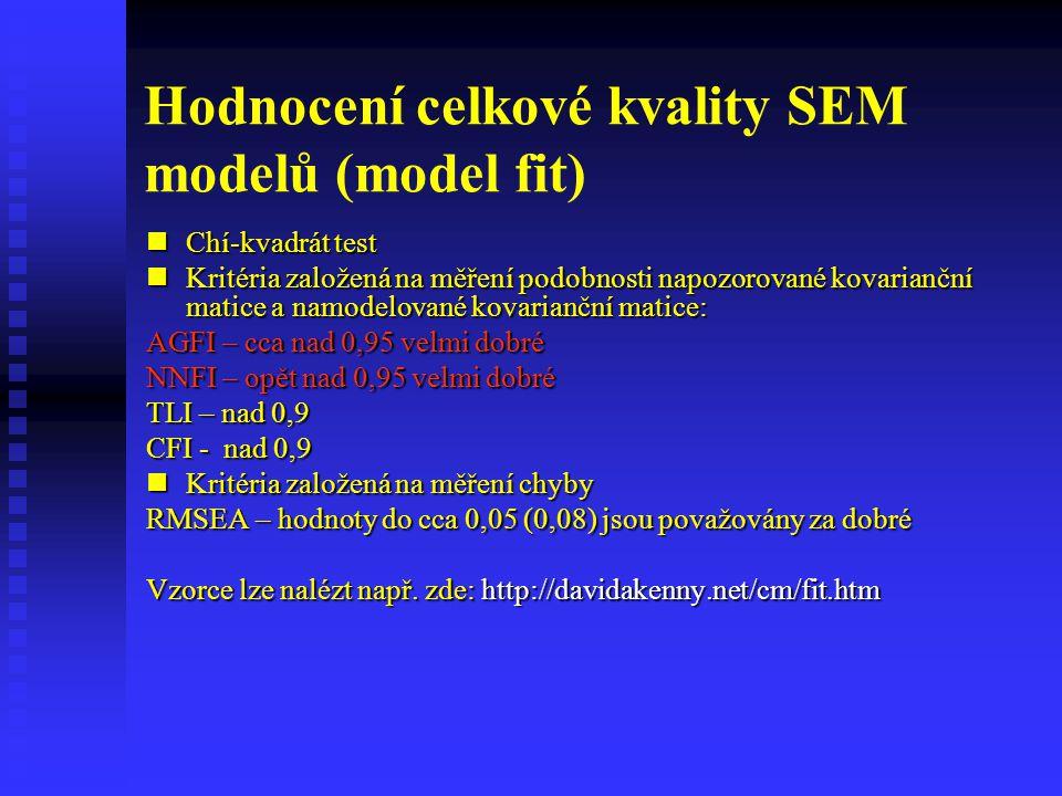 Hodnocení celkové kvality SEM modelů (model fit) Chí-kvadrát test Chí-kvadrát test Kritéria založená na měření podobnosti napozorované kovarianční mat