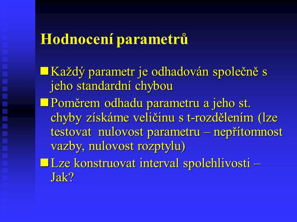 Hodnocení parametrů Každý parametr je odhadován společně s jeho standardní chybou Každý parametr je odhadován společně s jeho standardní chybou Poměre