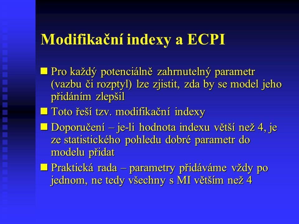 Modifikační indexy a ECPI Pro každý potenciálně zahrnutelný parametr (vazbu či rozptyl) lze zjistit, zda by se model jeho přidáním zlepšil Pro každý p