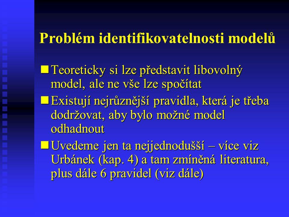 Problém identifikovatelnosti modelů Teoreticky si lze představit libovolný model, ale ne vše lze spočítat Teoreticky si lze představit libovolný model