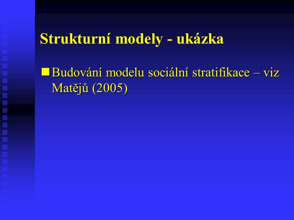 Strukturní modely - ukázka Budování modelu sociální stratifikace – viz Matějů (2005) Budování modelu sociální stratifikace – viz Matějů (2005)