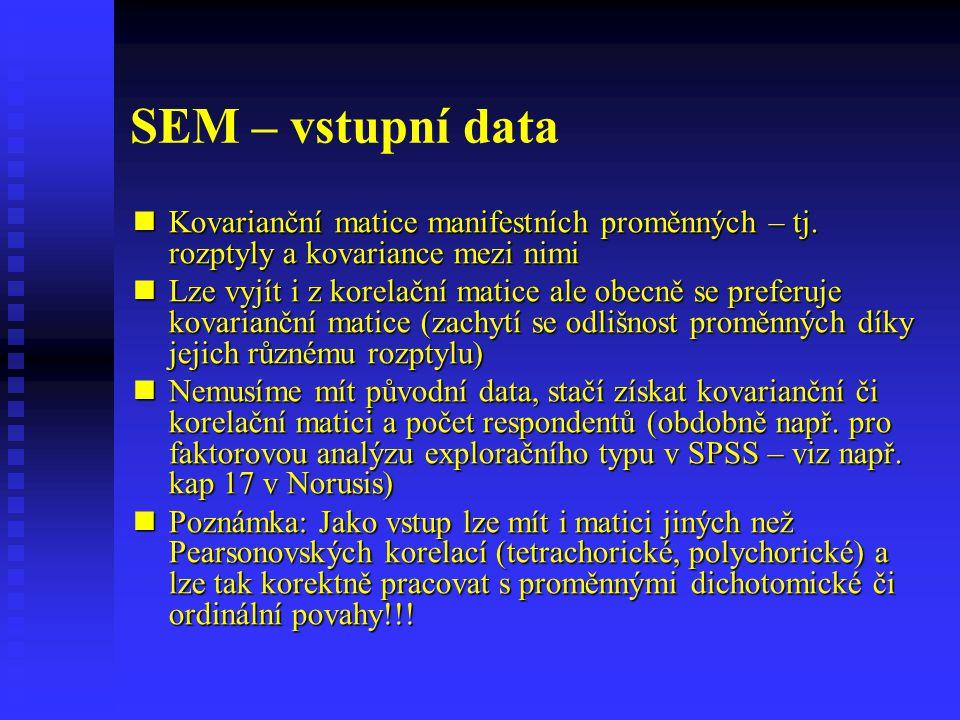 SEM – vstupní data Kovarianční matice manifestních proměnných – tj. rozptyly a kovariance mezi nimi Kovarianční matice manifestních proměnných – tj. r