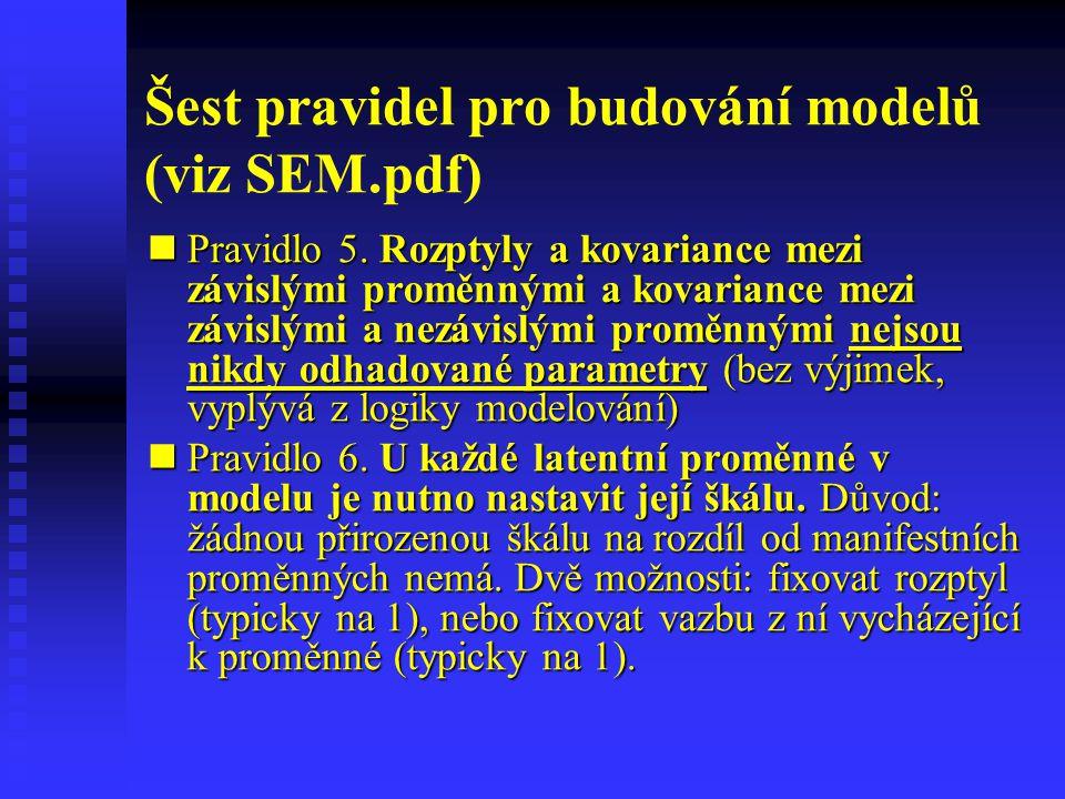 Šest pravidel pro budování modelů (viz SEM.pdf) Pravidlo 5. Rozptyly a kovariance mezi závislými proměnnými a kovariance mezi závislými a nezávislými