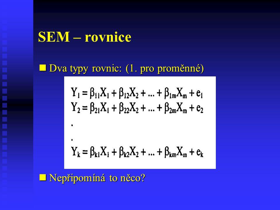 SEM – rovnice Dva typy rovnic: (1. pro proměnné) Dva typy rovnic: (1. pro proměnné) Nepřipomíná to něco? Nepřipomíná to něco?