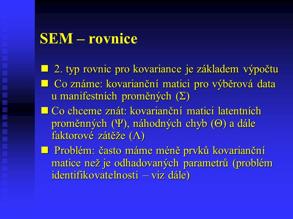 SEM – rovnice 2. typ rovnic pro kovariance je základem výpočtu 2. typ rovnic pro kovariance je základem výpočtu Co známe: kovarianční matici pro výběr