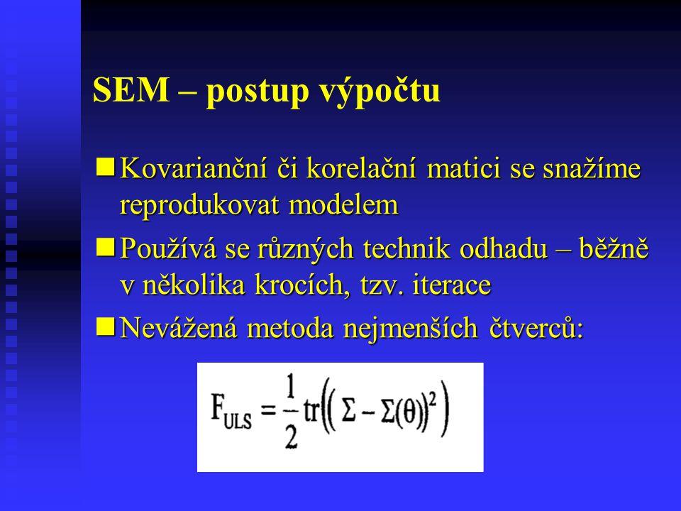 Identifikovatelnost - pomůcky Model měření by měl mít pro každou latentní proměnnou alespoň tři indikátory (manifestní proměnné) Model měření by měl mít pro každou latentní proměnnou alespoň tři indikátory (manifestní proměnné) Aspoň jedna vazba indikátoru a latentní proměnné se fixuje (zpravidla na jednotku) Aspoň jedna vazba indikátoru a latentní proměnné se fixuje (zpravidla na jednotku)