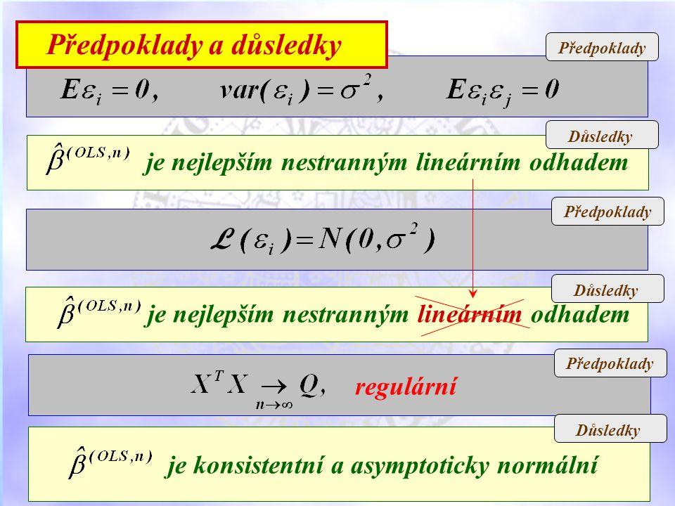 Předpoklady Důsledky je nejlepším nestranným lineárním odhadem Důsledky Předpoklady Důsledky L je nejlepším nestranným lineárním odhadem regulární je konsistentní a asymptoticky normální Předpoklady a důsledky