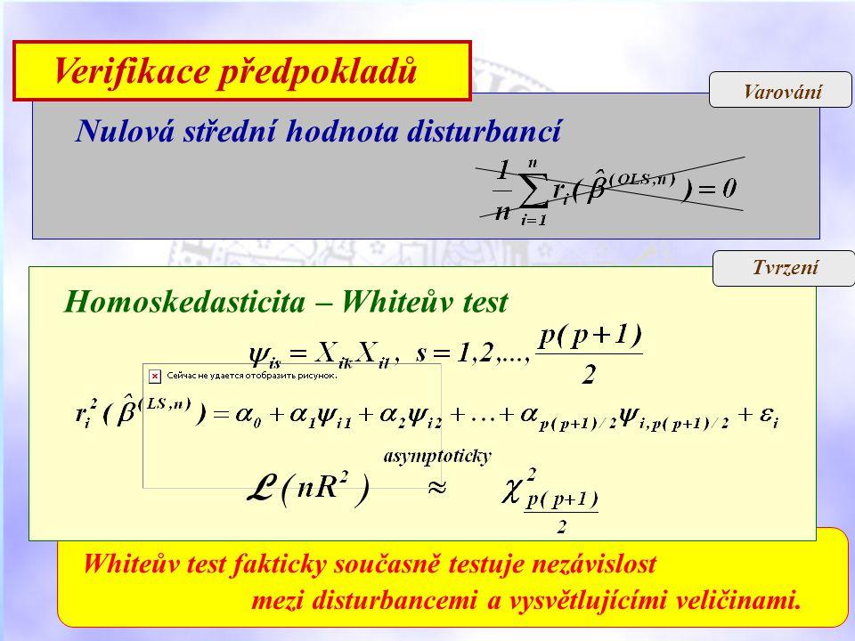 Varování Verifikace předpokladů Nulová střední hodnota disturbancí mezi disturbancemi a vysvětlujícími veličinami.