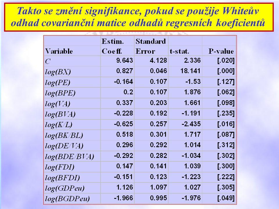 Takto se změní signifikance, pokud se použije Whiteův odhad covarianční matice odhadů regresních koeficientů
