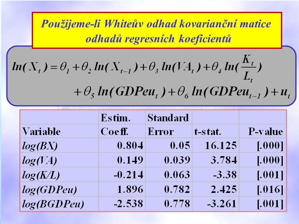 Použijeme-li Whiteův odhad kovarianční matice odhadů regresních koeficientů