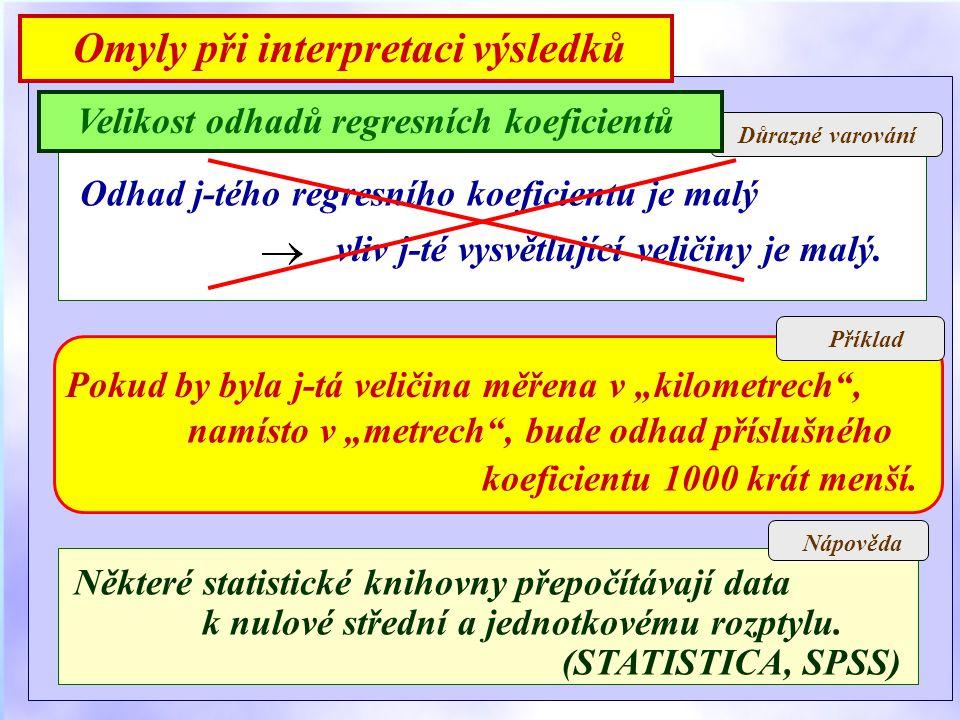 Důrazné varování Nápověda Velikost odhadů regresních koeficientů Omyly při interpretaci výsledků Odhad j-tého regresního koeficientu je malý vliv j-té vysvětlující veličiny je malý.