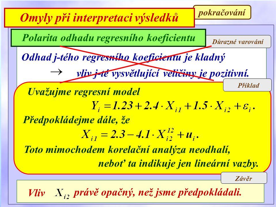 Důsledky Důrazné varování Polarita odhadu regresního koeficientu Příklad Odhad j-tého regresního koeficientu je kladný vliv j-té vysvětlující veličiny je pozitivní.