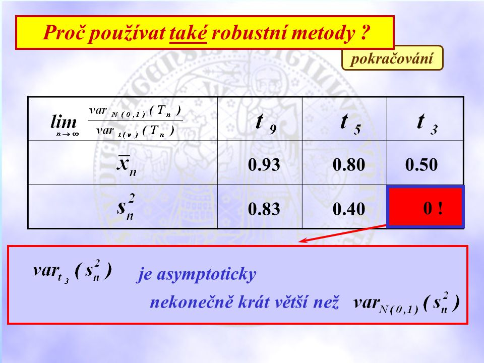 pokračování Proč používat také robustní metody . 0.930.800.50 0.830.40 0 .